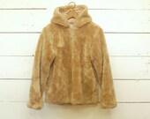 vintage brown faux fur teddy bear coat jacket XS/S