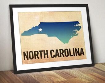 North Carolina Print, State Print North Carolina, Raleigh Print, Burlap, Ombre, Asheville Art
