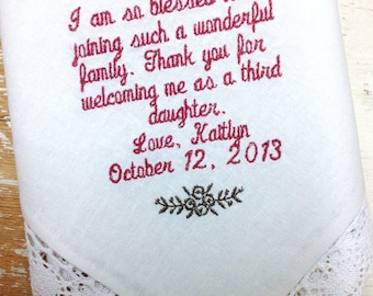 Mother in Law from BRIDE Wedding heirloom handkerchief custom embroidered personalized hankie
