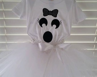 Ghost tutu costume. Shirt/ onesie, tutu, and hair bow