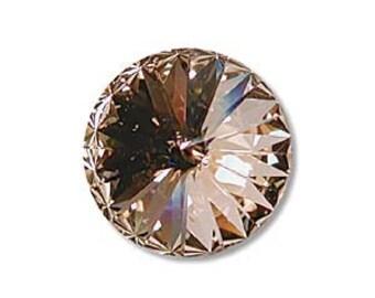 LIGHT PEACH Swarovski Rivoli Crystal Elements 12mm Qty 2 Foiled Undrilled Swarovski Stones