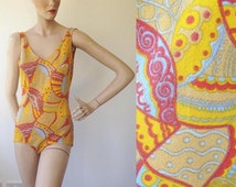 1960s Tangerine Dream Psychedelic Swimming Costume / 60s Bathing Costume / Vintage Swimming Suit / Size UK 14-16