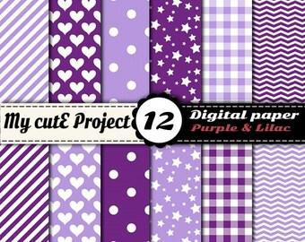 Digital paper pack - Purple & Lilac - Instant Download - Scrapbooking (12x12 - A4)