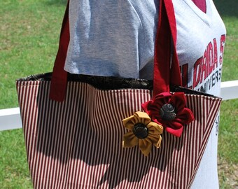 FSU Florida State University Seminoles Noles Striped Gold Garnet Flower Tote Bag Purse With or Without Monogram