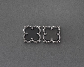 Onyx Clover Brass Pendant . Jewelry Craft Supplies . Polished Original Rhodium Plated over Brass  / 1 Pcs - GC074-PR-ON
