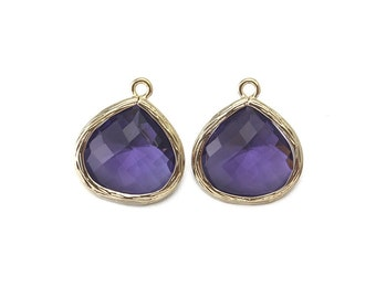 Amethyst Glass Pendant . Jewelry Craft Supplies . 16K Polished Gold Plated over Brass  / 2 Pcs - AG002-PG-AM