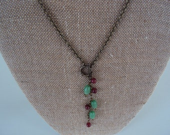 Antique Brass Necklace with Berry Quartz and Green Glass Beads
