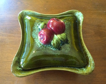 Vintage Green Ceramic Dish with Lid