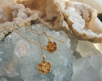 SALE!  14k Gold Threader Camellia Blossom Earrings with 24k Gold Vermeil Drops