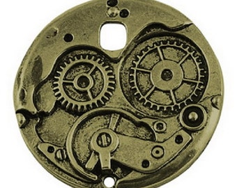 2 x Antique Bronze Watch Part Charms Steampunk - Large - 37mm x 37mm - NF LF - Victoriana - Cogs Wheels Gears - TS178
