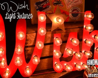 """Lighted Metal MARQUEE SIGN Marquee Light Fixture: Holiday """"WISH"""" sign 29"""""""