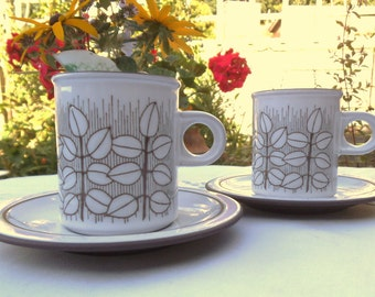 Hornsea Coffee Cups and Saucers in Charisma Pattern. Pair of Coffee Cans. 1970's  - 1980's