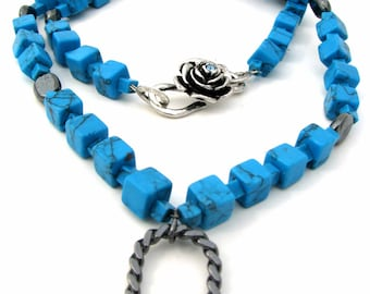 Turquoise and Hematite ID/Badge Holder Necklace