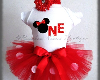 Red Minnie Mouse Birthday Outfit, Minnie Outfit, Minnie Mouse Tutu, 1st Birthday Outfit