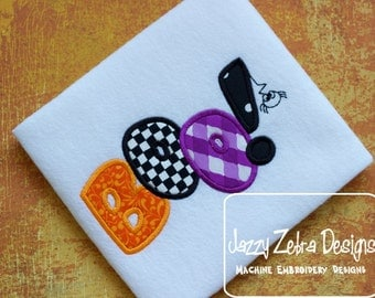 Boo word Appliqué embroidery Design - Halloween Applique Design