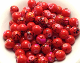 100 Red Glass Beads, Red Drawbench Beads, 6 mm, (BE1013)