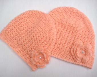Mom and baby hat-Matching mom baby -Woman's beanie-Crochet adult hat-Flower beanie-Ladies crochet hat-Mum baby crochet hat -knit hat