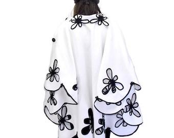 Women Coat Cape / Wool Coat Cape / White Women Cloak Coat/