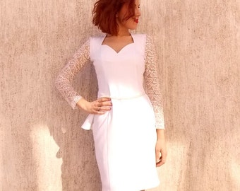 White Elegant Dress / Lace Dress / Summer Mini Dress / White Pearl