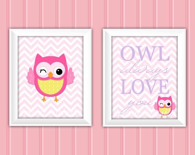 Owl Wall Art Set, Owl Always Love You, Owl Decor, Instant Download, Childrens Wall Art, Kids Wall Art, Nursery Wall Art, DIY Wall Art