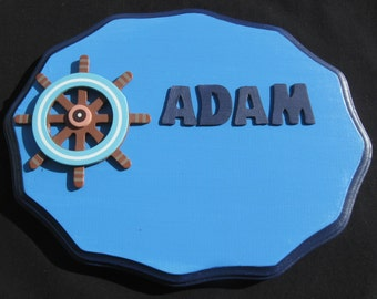 Custom-Kids-Name-Plaques, Nautical Hand Painted Wood Name Plaques,Anchor-Name-Plaque,Ship-Wheel-Name-Plaque
