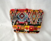 Makeup bag multi colored decorator upholstery fabric and zippered closure