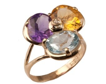 Multicolor Gemstone Diamond Ring