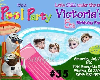 20 Disney Frozen Invitation -Printed  SUMMER Pool Party Birthday Invitations - 20 or more invites(includes envelopes)  Frozen Invitation