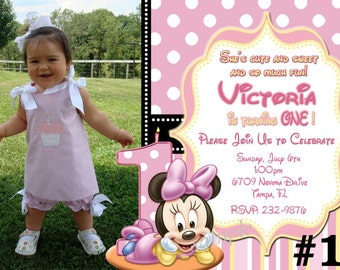 Baby Minnie Mouse First Birthday Invitation  Digital File - Minnie Mouse 1st  Birthday Party, Printable