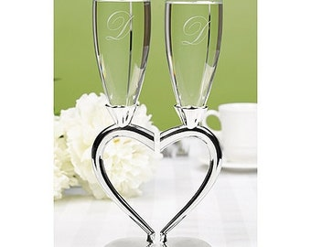 Personalized Wedding Flutes Champagne Interlocking Hearts Toasting Glasses Ceremony Engraved
