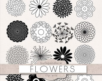 Clipart flower cliparts, Flower Silhouettes, dahlia clipart, chrysanths, mum flower, flower cliparts