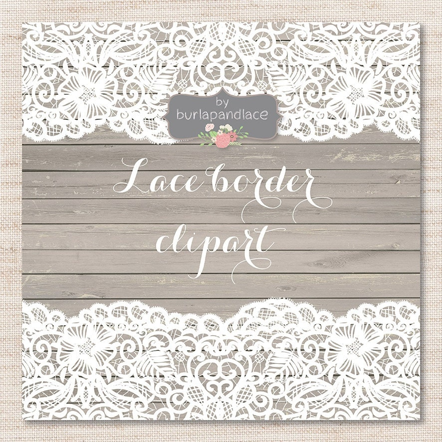 Lace Border Rustic Wedding Invitation Border Frame Lace