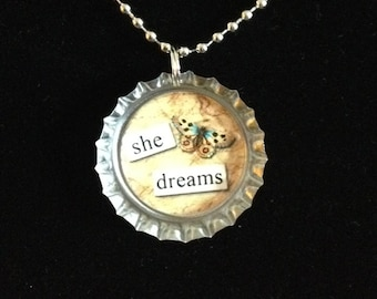 Vintage - She Dreams with Butterfly - Bottlecap Necklace
