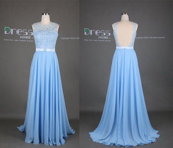 2015 lace long prom dress lace bridesmaid dress blue by for Light blue beach wedding dress