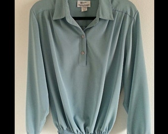 80s Light Blue Long Sleeve Collared Blouse