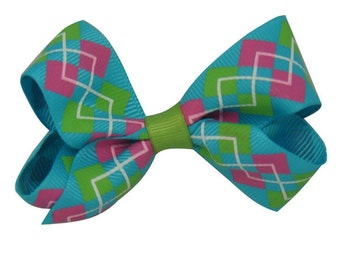 Plaid hair bow clip in  blue and pink with green ,unique hair clip,  flower bow, hair bow clip