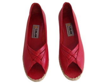 Genuine Leather Handmade Shoes for woman (CLASSIC - Open Toe) Red