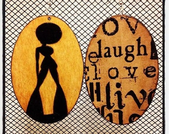"Soul Sis Earrings with ""LiveLoveLaugh"" graphic back"