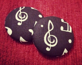 Musical Note Button Earrings