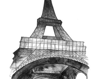 Torre Eiffel en París, acuarela pintura imprimir en azul marino - Marina decoración casera, París impresión del arte de la pared