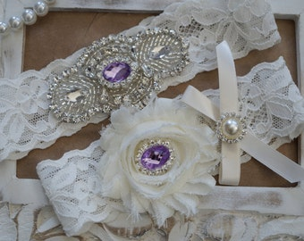 Wedding Garter Set, Bridal Garter Set, Vintage Wedding, Ivory Lace Garter, Crystal Garter Set, Purple Bridal Garter