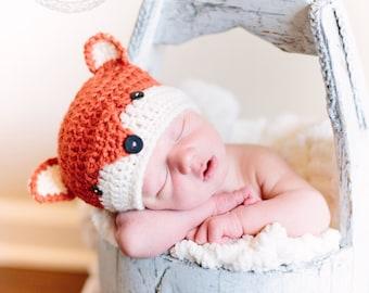Crocheted fox beanie, baby beanie, fox photo prop, crocheted baby gift, crocheted baby hat, crochet fox, crochet baby gift