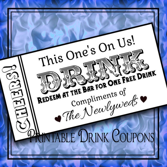 complimentary drink ticket template - printable drink tickets diy wedding instant download by idodiy
