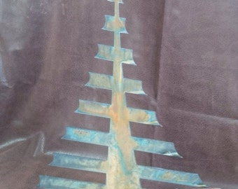 Metal Christmas Tree in a Wood base Home Decor