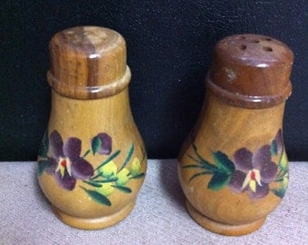 Floral Painted Wooden Salt & pepper Shakers