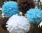 "20pcs Baby Blue 8"" Tissue Paper Pom Poms Flower Wedding Birthday Party Baby Room Decroation"