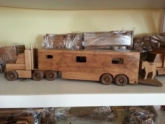 Wooden Horse Trailer Truck Toy Preschool Toddler By