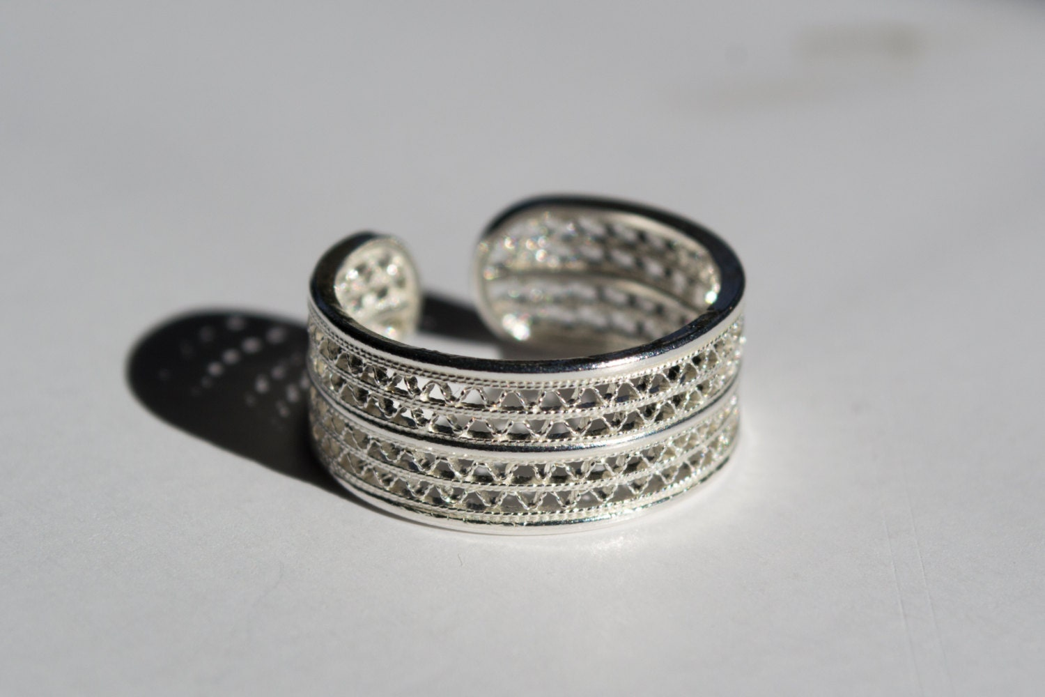 filigree silver ring adjustable by silverleafjewelryco