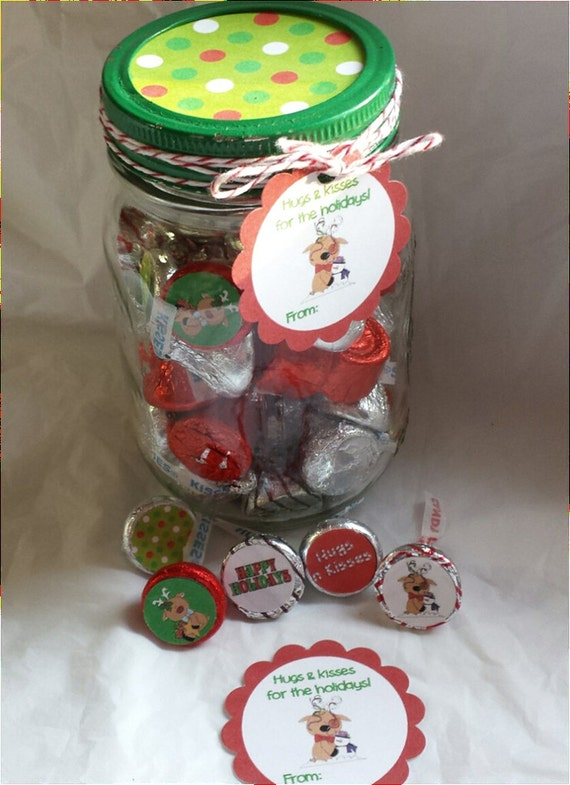 Printable Christmas Hugs and Kisses Mason Jar Gift set with Tags and ...