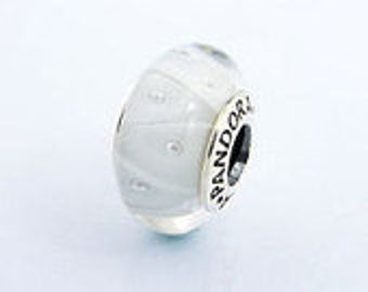 Pandora White looking Glass Bead